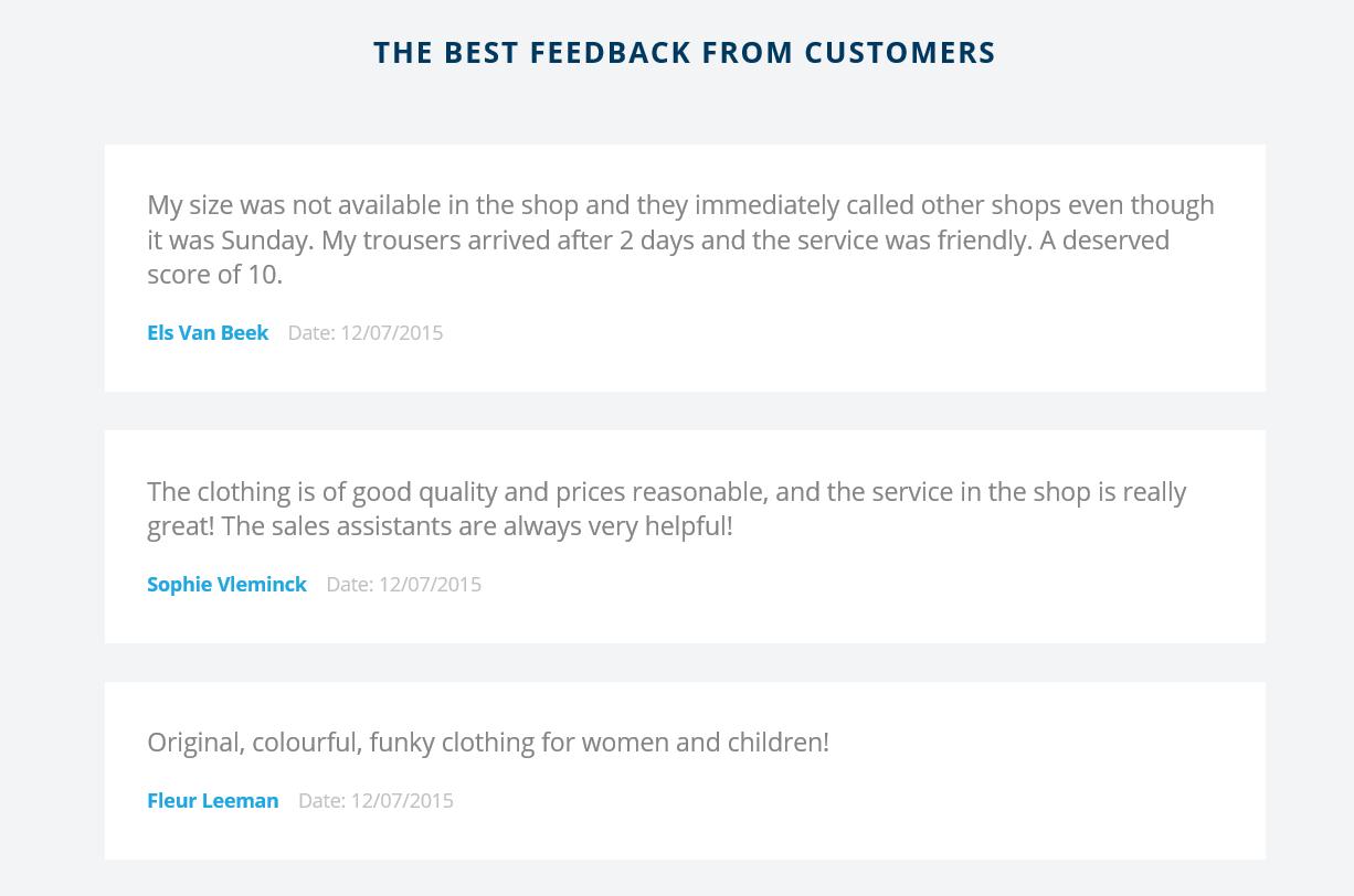 Customer feedback on department level